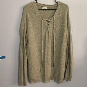 Grey cross neck sweater